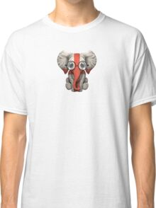 Baby Elephant with Glasses and English Flag Classic T-Shirt