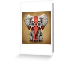 Baby Elephant with Glasses and English Flag Greeting Card