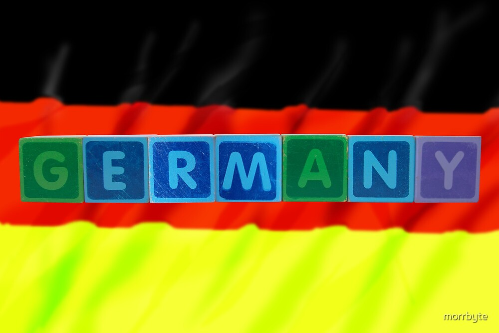 germany and flag in toy block letters by morrbyte