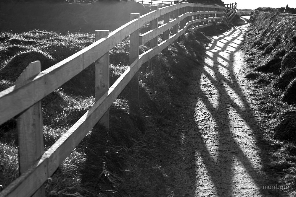 graphic cliff edge fence path shadows by morrbyte
