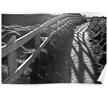 graphic cliff edge fence path shadows Poster