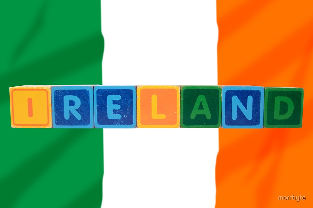 ireland and flag in toy block letters by morrbyte