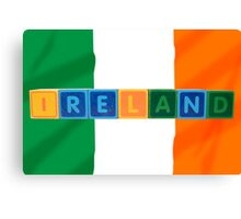 ireland and flag in toy block letters Canvas Print