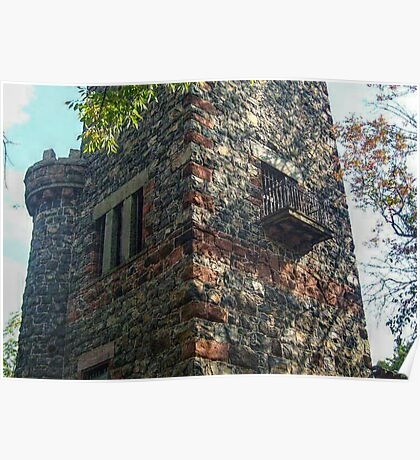 Small Balcony On the Side of the Garrett Mountain LookOut Tower, Lambert Castle Property, Woodland Park, NJ Poster