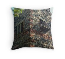 Small Balcony On the Side of the Garrett Mountain LookOut Tower, Lambert Castle Property, Woodland Park, NJ Throw Pillow