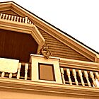 Cherub On Balcony of Victorian House, Ocean Grove, NJ [sepia] by Jane Neill-Hancock