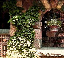 Ivy Climbing On The Lovely Stone Balcony at Skylands Manor, Ringwood NJ by Jane Neill-Hancock