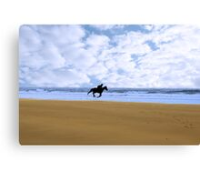 horse riding on kerry shore Canvas Print