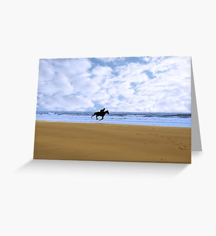 horse riding on kerry shore Greeting Card