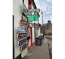 irish road signs on path Photographic Print