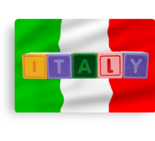 italy and flag in toy block letters Canvas Print