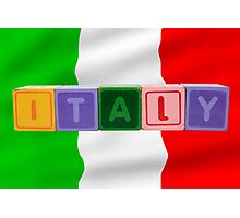 italy and flag in toy block letters Photographic Print