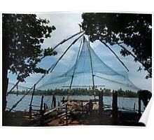 Chinese fishing nets in Cochin, Kerala  Poster