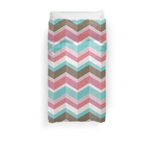 Sweet Tooth: Pink Blue & Brown Chevron Pattern Duvet Cover