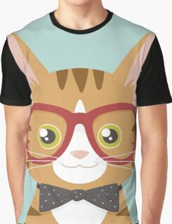 Orange Tabby Hipster Cat Graphic T-Shirt