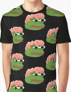 Flower Crown Pepe Frog Graphic T-Shirt