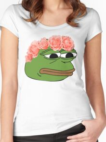 Flower Crown Pepe Frog Women's Fitted Scoop T-Shirt
