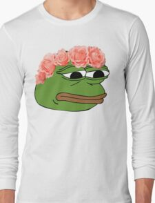 Flower Crown Pepe Frog Long Sleeve T-Shirt