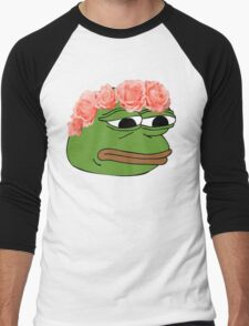Flower Crown Pepe Frog Men's Baseball ¾ T-Shirt