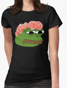 Flower Crown Pepe Frog Womens Fitted T-Shirt