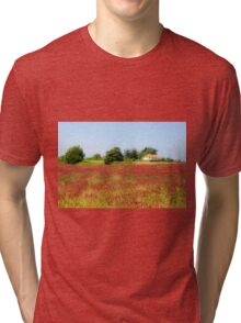 A field of common sainfoin (Onobrychis viciifolia) Photographed in Tuscany, Italy  Tri-blend T-Shirt