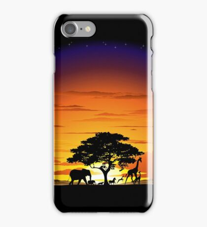 Wild Animals on African Savanna Sunset  iPhone Case/Skin