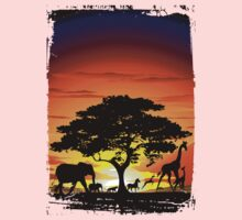 Wild Animals on African Savanna Sunset  One Piece - Short Sleeve
