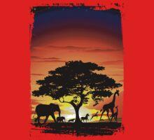 Wild Animals on African Savanna Sunset  One Piece - Long Sleeve