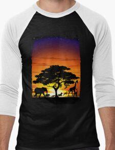 Wild Animals on African Savanna Sunset  Men's Baseball ¾ T-Shirt