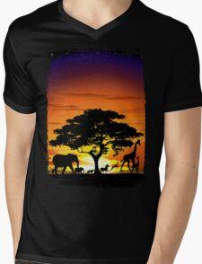 Wild Animals on African Savanna Sunset  Mens V-Neck T-Shirt