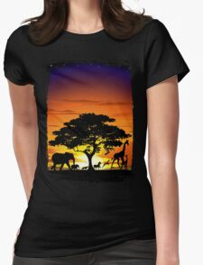 Wild Animals on African Savanna Sunset  Womens Fitted T-Shirt