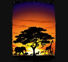 Wild Animals on African Savanna Sunset  Unisex T-Shirt