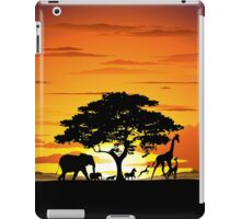 Wild Animals on African Savanna Sunset  iPad Case/Skin