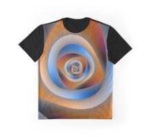 Spiral Labyrinth in Orange and Blue Graphic T-Shirt