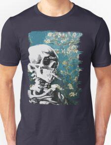 Skull with burning cigarette on cherry blossom T-Shirt