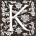 "Art Nouveau ""K"" (William Morris Inspired) by Donna Huntriss"