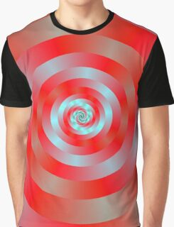 Red and blue Circular Spiral Graphic T-Shirt