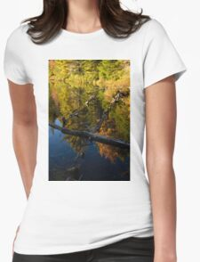 Fall Mirror - Mesmerizing Forest Lake Reflections Womens Fitted T-Shirt