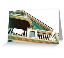 Cherub On Balcony of Victorian Painted House, Ocean Grove, NJ Greeting Card