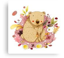 Bear with Honey-Pot Canvas Print