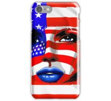 Usa Flag on Girl's Face iPhone Case/Skin