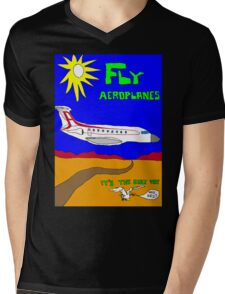 Fly Aeroplanes. It's the only way. Who sez? (Large) Mens V-Neck T-Shirt