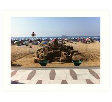 sand sculpture castle Art Print