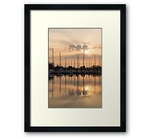 Pale Gold Sunrise With Yachts  Framed Print