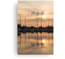 Pale Gold Sunrise With Yachts  Canvas Print