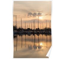 Pale Gold Sunrise With Yachts  Poster