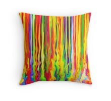 Colourful Dripping Paint Streaks Throw Pillow