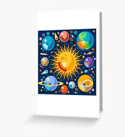 Solar System Infographics Greeting Card