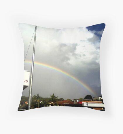 rainbow over suburbia  Throw Pillow