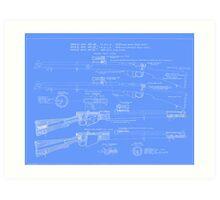 303  Lee Enfield Rifle Blueprint (light blue) Art Print